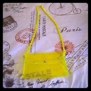 Transparent Lime green PVC crossbody bag